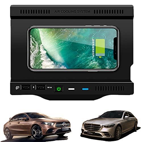 Paobiy Cargador inalámbrico para coche compatible con Mercedes Benz Clase A, Clase B, AMG/GLB 2019-2021 panel de accesorios de consola central, Cargador de teléfono móvil 10W , para iPhone y Samsung.