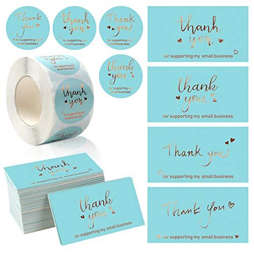 Juego de 620 tarjetas de agradecimiento y pegatinas, para pequeñas empresas, clientes, tarjetas de agradecimiento y etiquetas adhesivas, tarjetas de notas doradas para productos online o minoristas.