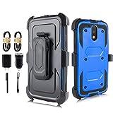 Moto G4 Case, Moto G4 Plus Case, Heavy Duty Armor Shockproof Protection Case Cover with Belt Swivel Clip Kickstand for Motorola Moto G4 Plus [Value Bundle] (Blue)