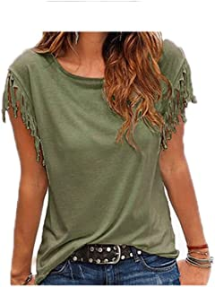 Wanxiaoyyyindx Work Blouses for Women, Summer Poor Sleeve Tassel T-shirt Woman Simple Crew Neck Canonic Tops Leisure Ladie...