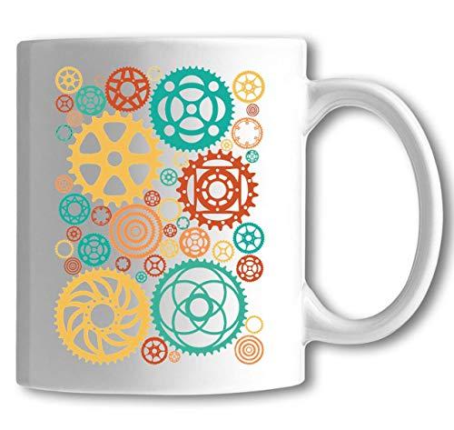 Iprints minimalistische fiets fiets tandwielen kleurrijke witte keramische thee koffie mok