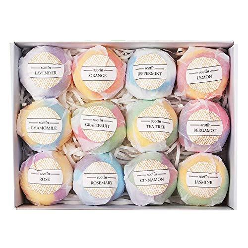 Vaorwne Ensemble Cadeau de Bombes de Bain - 12 Fizzies à la Main pour les Femmes - Parfait pour Bulle & Spa Baignoire- Huiles Essentielles etde Parfum pour Hydrater la Peau Sèche
