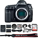 Canon EOS 5D Mark IV DSLR Camera Body (1483C002) + Extra Battery + 128GB SDXC Card + SD Card Reader & Deals All Year Premium Accessory Bundle - International Version (1 Year Seller Warranty)