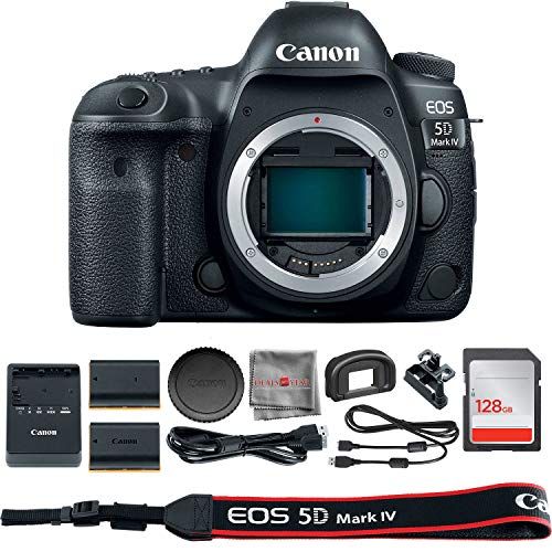 Canon EOS 5D Mark IV DSLR Camera (Body Only)(1483C002) + 128GB SDXC Card + Extra Battery + SD Card Reader & Deals All...