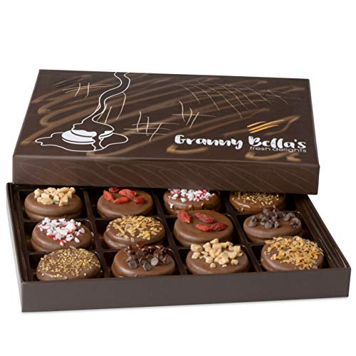 Granny Bella's Christmas Gourmet Cookies Gift Baskets, Milk Chocolate Covered Oreo Cookie Box...