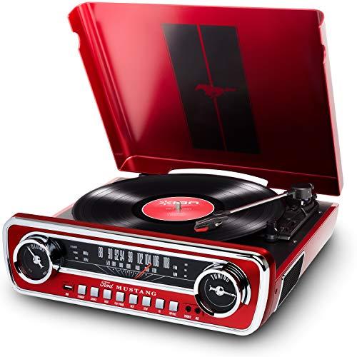 ION Audio Mustang LP - USB Plattenspieler mit Lautsprecher / Schallplattenspieler Retro mit Radio, Aux-Eingang und Vinyl zu MP3 Kovertierungssoftware, roter Lack - ein Muss für alle Ford Mustang Fans