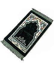 سجادة الصلاة الإسلامية من جارنيك، سجادة صلاة محمولة لفرشها على الارض، مصنوعة من نسيج الفلانيل ومضادة للانزلاق، مقاس 75 × 120 سم، هدايا رمضان للمسلمين من الرجال والنساء، لون ازرق