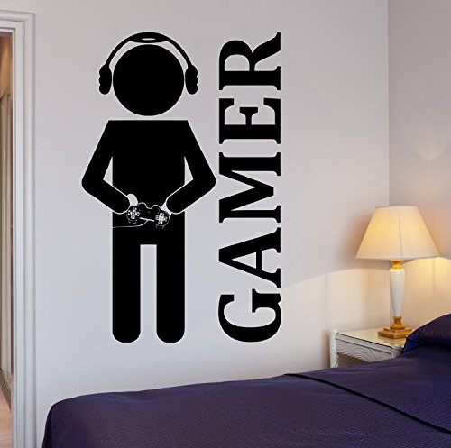 Wall Sticker Vinyl Video Games Joystick Gamer Decor for Playroom Large Decal (z2065) M 22.5 in X 35 in Black