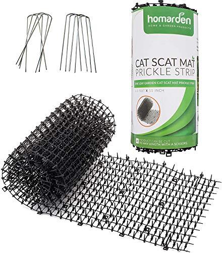 Homarden Cat Repellent Outdoor Scat Mat (6.5 ft) - Deterrent Scat Mats for Cats and Dogs - Indoor/Outdoor Deterrent Devices - Includes 12 Garden Staples