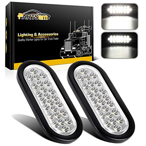 Partsam 2x Oval Clear Lens White Stop Turn Tail Backup Reverse Fog Lights Lamps Rubber Flush Mount 6 24 LED for Truck Trailer Boat RV Waterproof