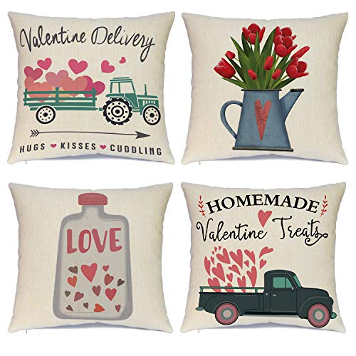 Hlonon Valentines Pillow Covers 18 x 18 Inches Set of 4 - Valentines Decorations Series Cushion Cover Case Pillow Custom Zippered Square Pillowcase (Valentines)