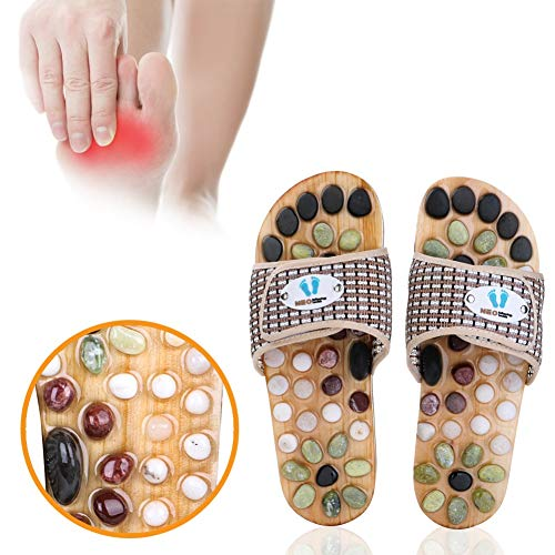 Acupressure Massage Slippers with Earth Stone, Therapeutic Reflexology Sandals for Foot Acupoint Massage Shiatsu Arch Pain Relief, Fit Men 6.5-7.5 / Women 7.5-9 Feet Size