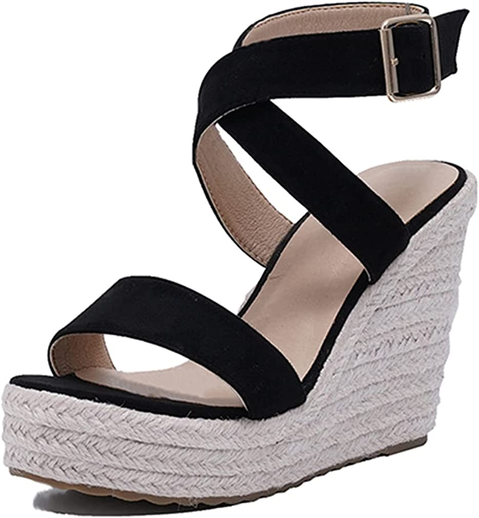 Dreamcia Women Sexy Cross Price reduction Popular Ankle Platfor Wedge Espadrille Strappy