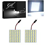 GLL Super White Energy-saving 5050 48-SMD LED Panel Dome Light Auto Car Interior Reading Plate Light Roof Ceiling Interior Wired Lamp+T10 BA9S Festoon Adapter (WHITE)