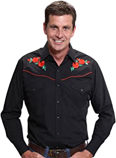 black shirt with embroidered rose