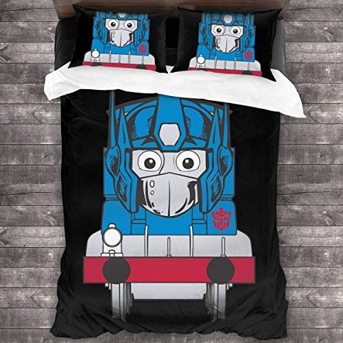 Opthomas Prime TRAN-SFORMERS Thomas The Tank Engine 3 Pieces Bedding Set Duvet Cover,Decorative 3 Piece Bedding Set with 2 Pillow Shams