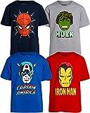 Marvel - Juego de 4 camisetas de los Vengadores de Iron Man, Capitán América, Spider-Man y Hulk Big Face Superhéroes -  Multi color -  4 años