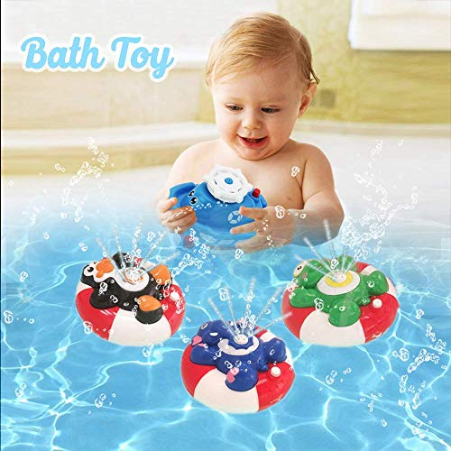 HANMUN Spray Water Baby Bath Toy Water Pump Electronic Spray Toy Float Rotate with Fountain Floating Bathtub Shower Bathroom Toy for Baby Toddler Infant Kid Party (Penguin) …