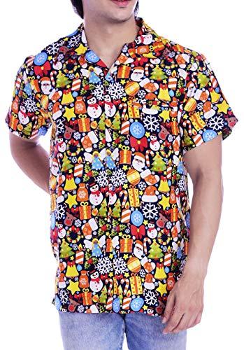 Virgin Crafts Hawaiiian Christmas Vacation Shirt for Mens Tropical Xmas1 Black 5XL