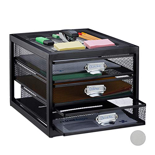 Relaxdays Schubladenbox, 3 Schubfächer, für Din A4 Dokumente, Ordnungssystem für Schreibtisch, Aktenablage, schwarz, HBT: 23 x 27,5 x 35 cm