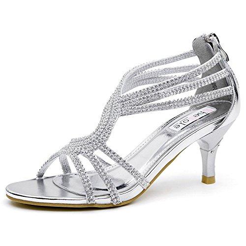 SheSole Women's Low Heel Dance Wedding Sandals Dress Shoes Silver US 11