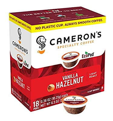 Cameron's Coffee Single Serve Pods, Flavored, Vanilla Hazelnut, 18 Count (Pack of 1)
