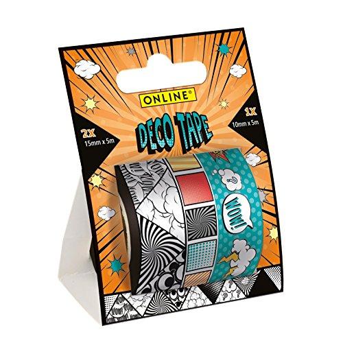 Online Schreibgeräte - Deco Tape Comic Style, 3 verschiedene Motive