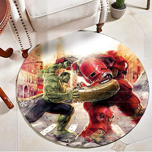 Kele Tapis Enfants 3D créatif Hulk Avengers Spiderman héros Moderne Salon Maison Chambre Salle de Bain Rond Tapis de Sol 180 cm