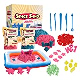 Leo & Emma Space Sand 2kg de Sable Cinétique 50 Pièces et Accessoires à Modeler moules bac à Sable Gonflable