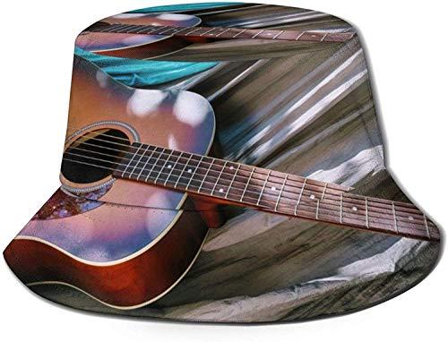 MODORSAN Sombrero de Cubo con Estampado de Guitarra acústica en Acuarela, Gorra de Pescador para Pesca, para Viajes de Mujer