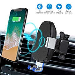 【Qi Wireless Charger & Phone Holder】2-IN-1 Smart&Stable Design combines the Qi Wireless Charger and a car phone holder. Wireless car charger offers fast charging for your phones and free you from the messing with cables and cases while driving. Silic...