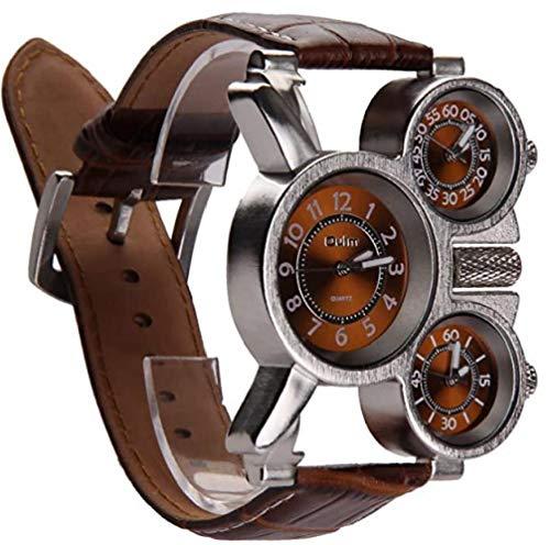 Reloj De Los Hombres Multifuncionales Tres Diales Analógicos Manos Luminosas Y Diseño De La Correa De Cuero Cómodos (marrón) 1 Paquete Práctico Y Utilidades