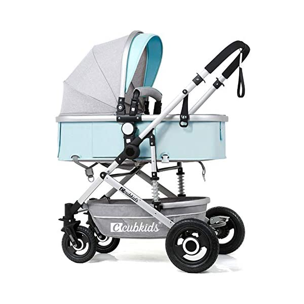 HHRen Multifunctional Baby Stroller Sitting And Lying And Shock-Absorbing Folding Baby Stroller, Detachable Sleeping Basket, Suitable Age: 0~3 Years Old, A,Green HHRen ✔Enlarge the loose sleeping basket to move the crib, supported by breathable wooden boards on three sides; non-inflatable rubber solid wheels, explosion-proof, anti-tie, shock-absorbing, suitable for various road conditions and easy to implement ✔The body is made of high-quality and lightweight aluminum alloy. The whole car weighs only 8.6KG. It can be easily implemented by a 2-year-old baby. The front wheel rotates 360° and the diameter is 18CM. One-button orientation/unlocking makes the implementation smoother. ✔Elaborately developed one-piece shock absorber frame, triangular load-bearing, the frame uses double shock absorption springs, safe and secure; sandblasting process, corrosion resistance, rust resistance, high strength, scratch resistance and cold resistance 1