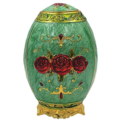 Retro Metal Automatic Toothpick Holder,Push Style Egg Shape Auto Toothpick Case for Home Restaurant Party Decoration,Rose,Light Green