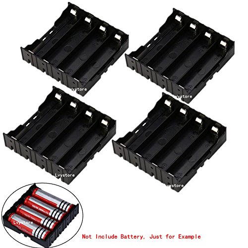 18650 Battery Case Holder, 4 Pcs 4 Slots x 3.7V DIY Battery Storage Box, in Parallel Black Plastic Batteries Case with Pin for Soldering 4 x 18650, by Ltvystore