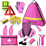 XPORTION Car Emergency Kit, Roadside Emergency Car Kit, Roadside Assistance Kit for Teen Girls and Lady's Gifts with Jumper Cables,Tow Rope, Tire Pressure Gauge and More Ideal Pink Accessories Tool.