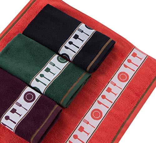 Venprodin Pack de 4 Juegos de Paños De Cocina de Rizo, 100% Algodón de 50x50 cm