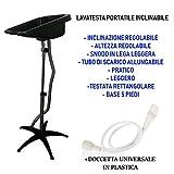 Lavatesta Portatile Inclinabile + Doccetta, Altezza Regolabile e Tubo di Scarico