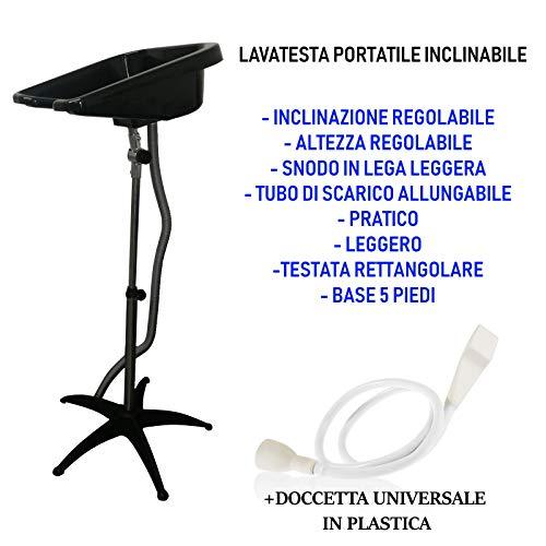 LAVATESTA A PIEDE PORTATILE PER PARRUCCHIERI+DOCCETTA...