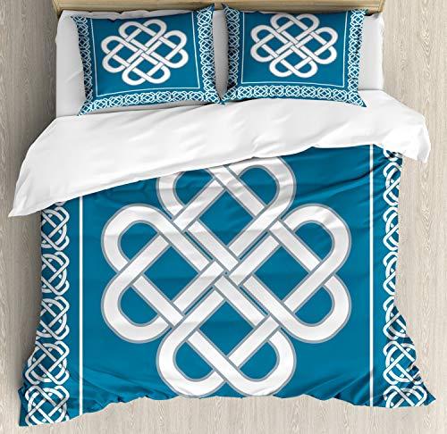 Ambesonne Irish Duvet Cover Set, Celtic Love Knot Fortune Symbol Framework Border Design, Decorative 3 Piece Bedding Set with 2 Pillow Shams, King Size, Aqua White
