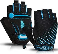 BIKINGMOREOK Cycling Gloves Half Finger 5MM Gel Pads Bike Gloves Shock-Absorbing Mountain Bike Gloves Anti-Slip Road Bike Gloves Bicycle Gloves MTB Gloves for Men Women-Blue-L