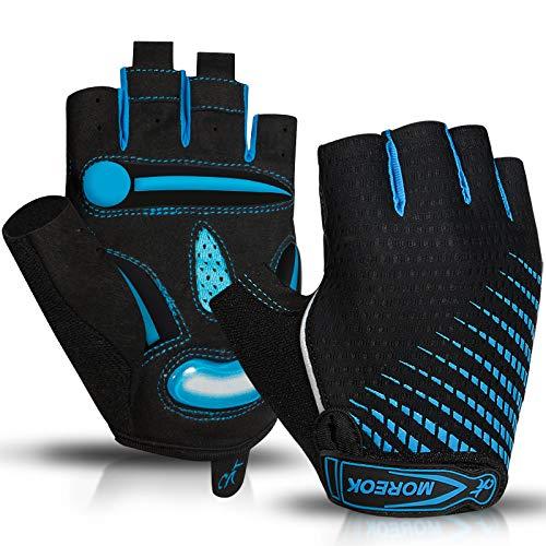 Cycling Gloves Men Mountain Bike 5MM Gel Pad Shock Absorbing Anti Slip Brea BLUE