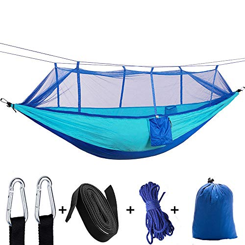 Best Deals! 102 x 55 - Blue Camping Hammock with Net, Parachute Nylon Double Swing Bed with Straps...