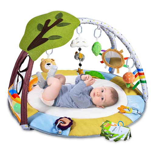 Lupantte Lion Baby Gym Play Mat with 9 Toys for Sensory and Motor Skill Development Language Discovery, Thicker and Non Slip Baby Activity Gym with Ball Pit, Green Tree for Babies and Toddlers