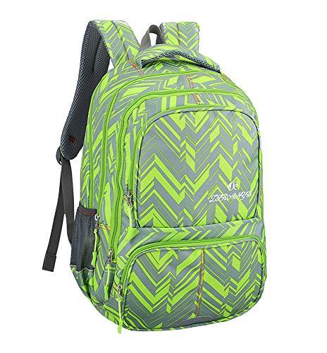 Lässige Rucksack - Studenten Büroangestellte praktische kühle Karierte Muster Daypack (Grün)