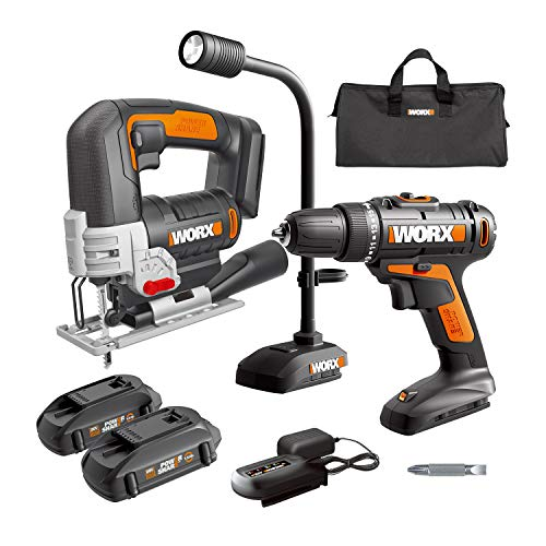 WORX WX958L 20V Cordless Drill Driver WX101L, 20V 24mm Cordless Jigsaw WX543L and 20V Flexible LED Light WX028L Combo kit Battery and Charger Included