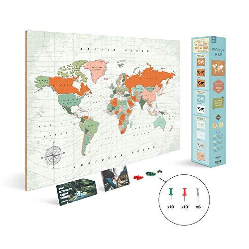 Multicolore 60 x 45 cm 60x45x0.4 cm Sughero Legno Miss Wood Terracota L Miss Woody Wood Terracotta L Mappa