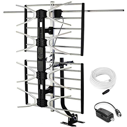 PBD Outdoor Digital HD TV Antenna with High Gain Amplifier 150 Mile Long Range for UHF/VHF, Mounting...