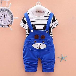 sinsolekilig Kinder Sportanzug weiche Baumwolle gestreiften Druck Cartoon Panda Baby Kurzarm Anzug Kinder T-Shirt und Strampler Kleidung Set