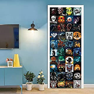 FLFK 3D Scary Skull Halloween Door Stickers Self-Adhesive Wall Murals Halloween Theme Party Stickers for Home Classroom Decor 30.3x78.7 Inch